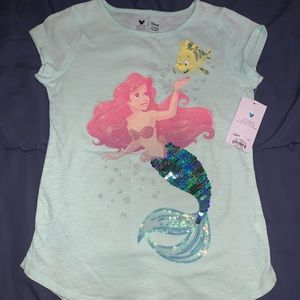 Girls Disney The Little Mermaid flip sequin shirt